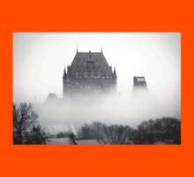 A Foggy Morning engulfs Chateau Frontenac Black and White Kids Clothes