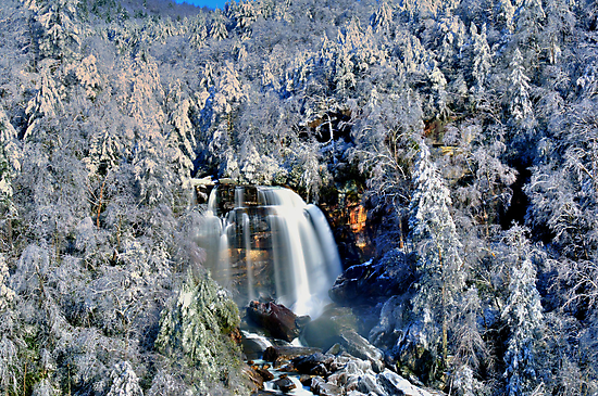 A Winter Blast at Whitewater Falls by Miles Moody