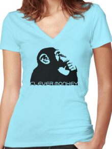 Clever Monkey Women's Fitted V-Neck T-Shirt