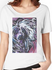 Chinese Crested Dog Bright colorful pop dog art Women's Relaxed Fit T-Shirt