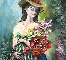 Lady with flowers original painting  by Natalja Picugina
