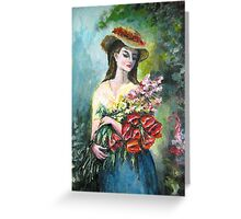 Lady with flowers original painting  Greeting Card