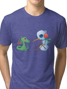 Snowman and Dragon Shirt Tri-blend T-Shirt