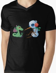 Snowman and Dragon Shirt Mens V-Neck T-Shirt