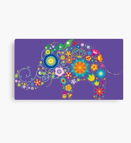 Elephant colorful Flowers Canvas Print