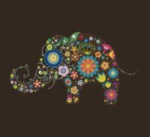 Elephant colorful Flowers by Olga Chetverikova