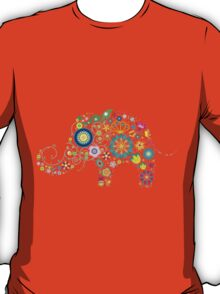 Elephant colorful Flowers T-Shirt