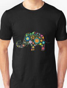 Elephant colorful Flowers Unisex T-Shirt