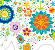 Elephant colorful Flowers Sticker