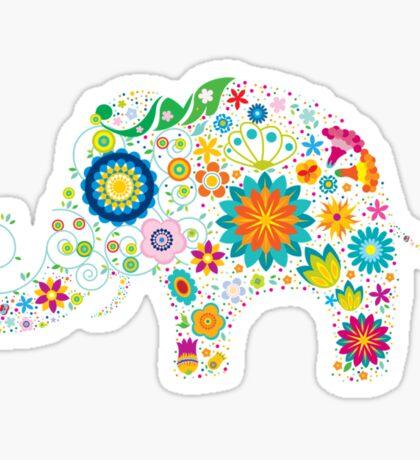 Elephant colorful Flowers Sticker