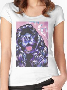 American Cocker Spaniel Dog Bright colorful pop dog art Women's Fitted Scoop T-Shirt