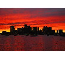 Boston City Sunset Photographic Print