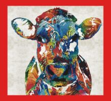 Colorful Cow Art - Mootown - By Sharon Cummings One Piece - Short Sleeve