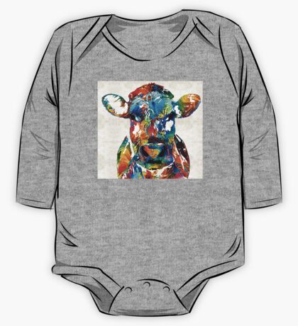 Colorful Cow Art - Mootown - By Sharon Cummings One Piece - Long Sleeve