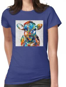 Colorful Cow Art - Mootown - By Sharon Cummings Womens Fitted T-Shirt