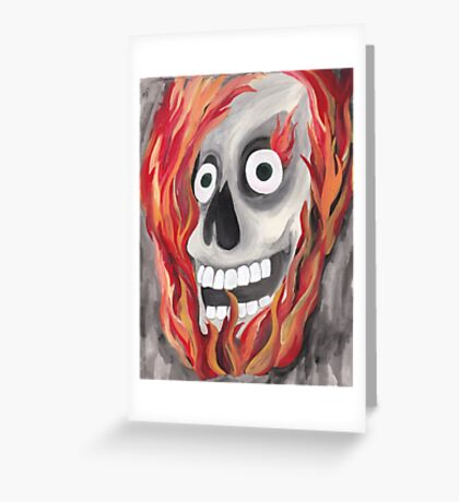 Skull with Flames Greeting Card