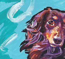 Dachshund Dog Bright colorful pop dog art by bentnotbroken11