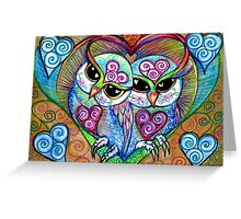 Rainbow Love Bird Spirit Owls in white by Sheridon Rayment Greeting Card