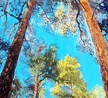 Pine Forest Glory landscape painting by ThePaintedTree