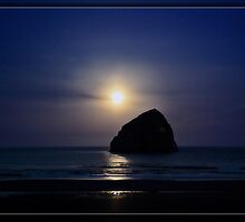 Moon set over Haystack Rock by Tiana  McVay