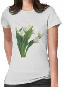 Bunch of white tulips Womens Fitted T-Shirt
