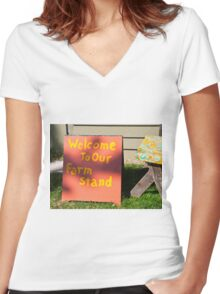 Sign Women's Fitted V-Neck T-Shirt