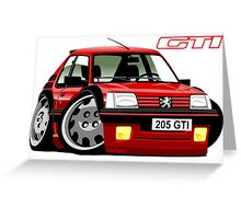 Peugeot 205 GTI caricature red Greeting Card