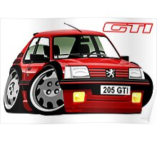 Peugeot 205 GTI caricature red Poster