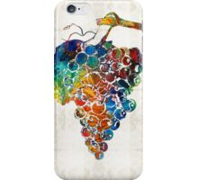 Colorful Grapes Fruit Art by Sharon Cummings iPhone Case/Skin