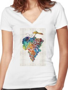 Colorful Grapes Fruit Art by Sharon Cummings Women's Fitted V-Neck T-Shirt