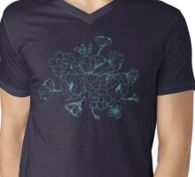 Floral Design Hand Drawn Mens V-Neck T-Shirt