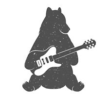 Print Bear with Electric Guitar by StockVector
