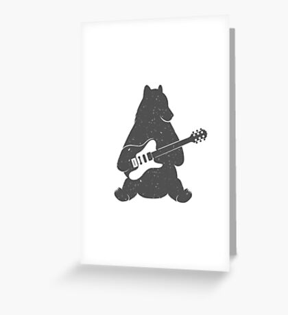 Print Bear with Electric Guitar Greeting Card