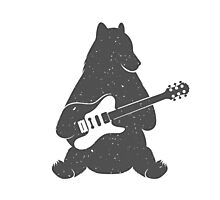 Print Bear with Electric Guitar Photographic Print