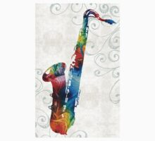 Colorful Saxophone 3 by Sharon Cummings Baby Tee