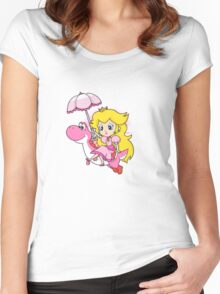 Yoshi and Chibi Peach Women's Fitted Scoop T-Shirt