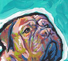 Dogue De Bordeaux Dog Bright colorful pop dog art by bentnotbroken11