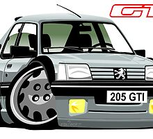 Peugeot 205 GTI caricature silver by car2oonz