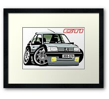 Peugeot 205 GTI caricature silver Framed Print