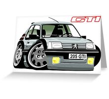 Peugeot 205 GTI caricature silver Greeting Card