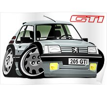 Peugeot 205 GTI caricature silver Poster