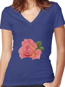 Pretty pink rose Women's Fitted V-Neck T-Shirt