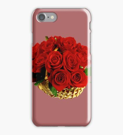 Basket of red roses iPhone Case/Skin