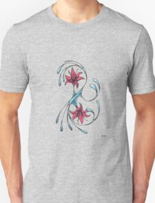 Curves with red flowers Unisex T-Shirt