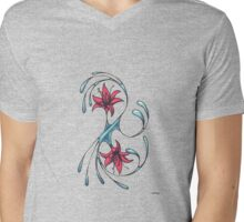 Curves with red flowers Mens V-Neck T-Shirt
