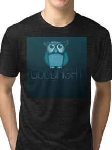 Goodnight cute Owl with night sky  Tri-blend T-Shirt