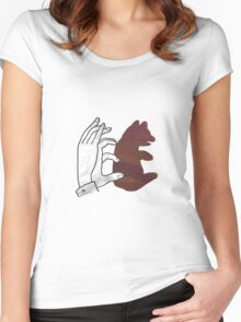Hand Silhouette Bear Cub Brown Women's Fitted Scoop T-Shirt