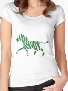 Zebra Green and White Print Women's Fitted Scoop T-Shirt