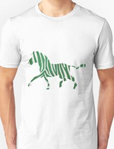 Zebra Green and White Print T-Shirt