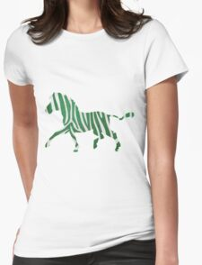 Zebra Green and White Print Womens Fitted T-Shirt